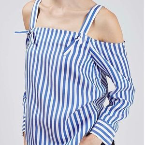 Topshop | Cold Shoulder Stripe Top